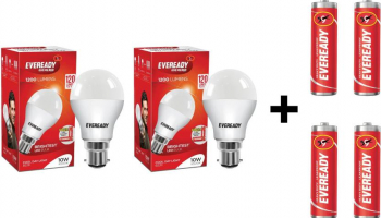 [ Back ] Eveready 10W LED Bulb Pack of 2 with Free 4 Batteries  (White, Pack of 2) @159.
