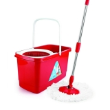 Steal Deal – Cello Kleeno Easy Clean 360 Degree Bucket Spin Mop With 1Extra Micro Fibre Refill, Red