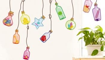 Decals Design 'Beautiful Wall Drift Bottles' Wall Sticker at Rs.99