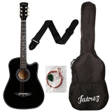 Juarez Acoustic Guitar,72% Discount 38 Inch Cutaway, 038C With Bag, Strings, Pick And Strap, Black