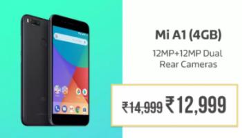 Flipkart Sale : Xiaomi MI A1 at Rs.12999 instead of Rs.14999