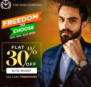 The Man Company : Freedom Sale – Flat 30% Off Site wide