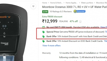 Moonbow Oceanus 3000 7 L RO + UV + UF Water Purifier  (Black) at Rs.12999+Bank offer